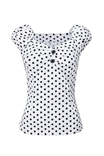 Zilcremo Women Vintage Two Buttons Polka Dot Retro Cotton 1940s T-Shirt Blouse Top Tee