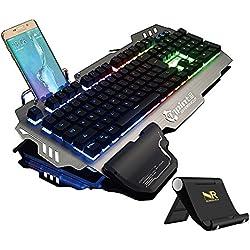 Normia Rita 104 klicken Mechanische Spiel Tastatur, Hintergrundbeleuchtung RGB LED Gaming-Tastatur, Beleuchtete Mechanical Keyboard mit Handy Halter - Aluminum Metall GunMetal Grau