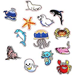 Sharplace 13pcs Toppe Termoadesive o Cucire Patch in Animali Marini Forma per Zaini Vestiti Bambini Cappello Scarpe Maglietta Borse Applique DIY