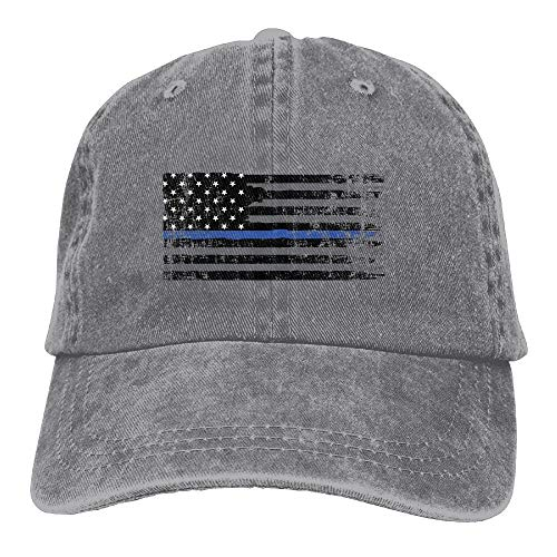 Blue Line Flag Unisex Adult Denim Dad Baseball Hat Sports Outdoor Cowboy Cap for Men and Women ()