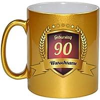 Glückwünsche zum 90. Geburtstag Kaffeebecher Gold Personalisierte Geschenkidee