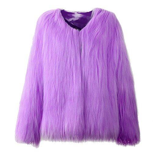 Donna cappotto corto di pelliccia ecologica di faux giacca blazer giacca corta pelliccia a maniche lunghe s viola