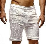 LEIF NELSON Herren kurze Hose Shorts Sweatshorts LN6335; Größe S, Ecru