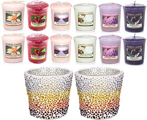 2 x Official Yankee Candle Sunset Mosaic Ceramic Votive Holders + 12 Sampler Candles