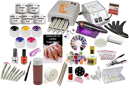 Nagelstudio Set komplett für die künstliche Nagelmodellage | Manikure + Pediküre | Nagelstudio Starterset mit UV Lampe 36 Watt | Nagelfräser |UV Gel | UV Farbgel| Nailartmix | MEGA Zubehör | -