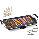 COSTWAY 48 x 27 cm Electric Teppanyaki Table Grill, BBQ Barbecue Griddle, Non-Stick Hot Plate, Spatulas and 2 Egg Rings Included 2000W