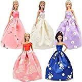 5 Stück 100% Handgemachtes Barbie Puppen Kleid