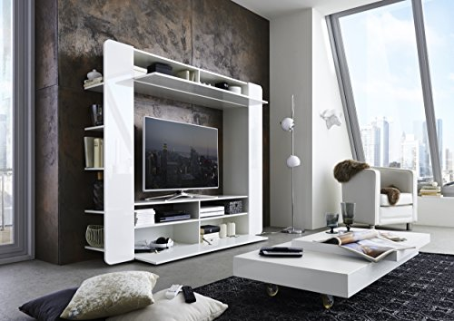Cavadore 89216 Mediawand Hollywood 01 / Wohnwand Hochglanz Weiß / Moderne Tv-Wand mit viel Stauraum / 35 x 196 x 161 cm (T x B x H) - 4