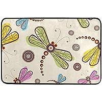 best bags - Felpudo de libélula para Interiores y Exteriores, Lavable, para jardín,