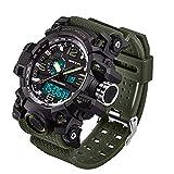 WMWMY LED Électronique Men's Sports Chronographe Montre Homme Affichage Date Semaine Réveil Militaire Armée Watch, 7