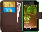 G-Shield Hülle für Nokia Lumia 530 Klapphülle mit Kartenfach - Braun