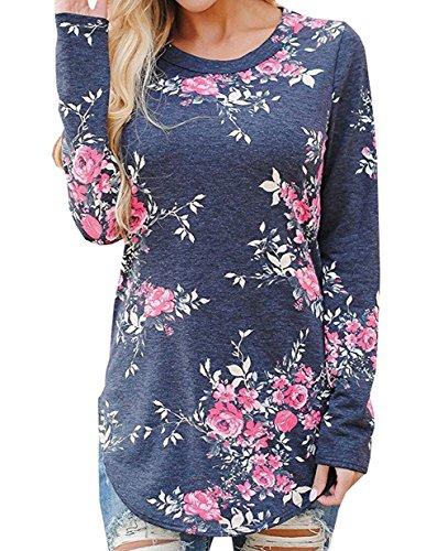 Donna Girocollo Pullover Bluse Camicie Stampa Maglie a Manica Lunga Miscela Del Cotone Sweatshirt T-shirt Maglietta Camicetta Top Blu