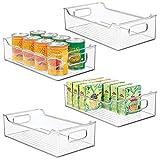 mDesign 4er-Set Aufbewahrungsbox für die Küche - Kühlschrankkorb aus Kunststoff - Kühlschrankbox für Milchprodukte, Obst und andere Lebensmittel - durchsichtig