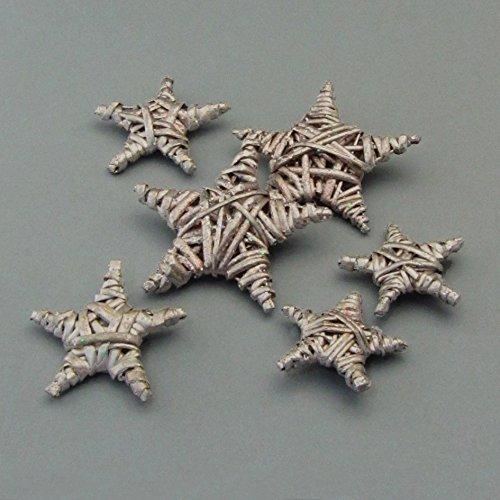 Weide STERN Tischstreu. 6 Rattan Sterne. Je 2 Stück 5, 6 und 8 cm. Set mit 6 Sternen in NATUR -69
