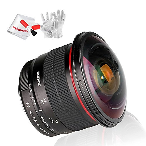 Meike 8mm F/3.5 Wide View Angle APS-C Manual Focusing Fisheye Lens For Nikon DSLR Cameras D810 D60 D80 D90 D200 D300 D5100 D5200 D5300 D7100 D7200 D7000 With Pergear Cleaing Kit
