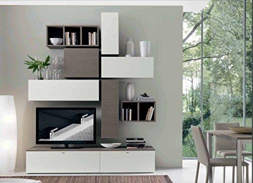 Mobile soggiorno living, finitura rovere ontario e larice bianco l.218 h.268 p.35 made in brianza.inclusa consegna al piano su appuntamento, con personale specializzato.