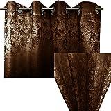 Ösenschal Blickdicht von JEMIDI Abdunkelnd Vorhang Ösengardine 140cm x 245cm Ösen Schal Gardine Fenster Dekoschal Braun
