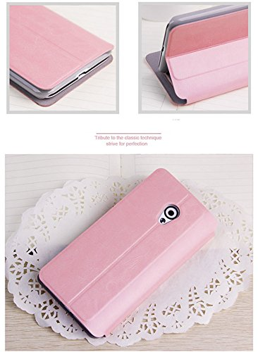 ARMOR Mofi Premium Leather Flip Cover Case with Back Stand For HTC Desire 709D/700 - Pink