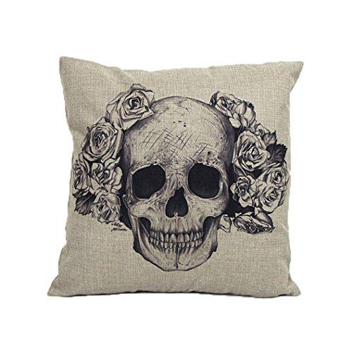 Sunnywill Home-Sofa-Bett Autos Dekoration Vintage Skull Pillowcover Schädel Kissen neu (D)