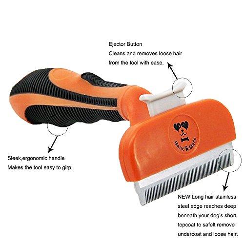 Hundebürste Pflegetrimmer Anti-Haaren deShedding Tool für Hunde, Katzen, Pferde und andere Haustiere Größe M - 4