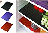 #9: Kuber Industries Refrigerator Drawer Mat / Fridge Mat/ Place Mat Set Of 6 Pcs (13*19 Inches) (Black & Blue & Red)