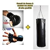 mmasport Guanti Sacco + Sacco Boxe Pieno Alta qualità 100% Made in Italy 90 100 cm (100 cm (29 kg), Guanti Adulto)
