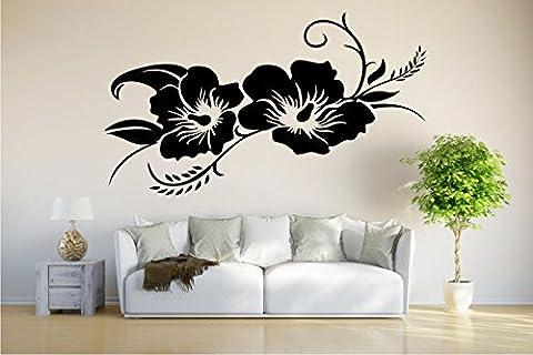 Wandtattoo / Wandaufkleber - Hibiskusblüte - Hibiskus - 80cm x 66cm schwarz E924