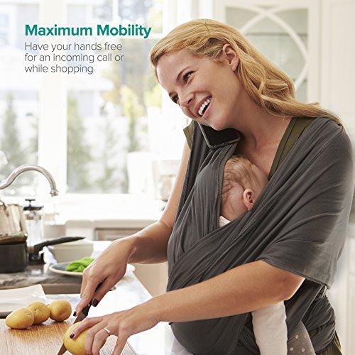 Babytragetuch, Sable Kindertragetuch Babybauchtrage, Elastisches Tragetuch für Baby Früh- und Neugeborene Kleinkinder, inkl. Anleitungsheft - 4