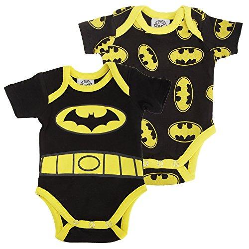 Batman Ufficiale - Body a Manica Corta in Cotone (confezione da 2) - Neonati/Bambini (6-9 mesi) (Nero/Giallo)