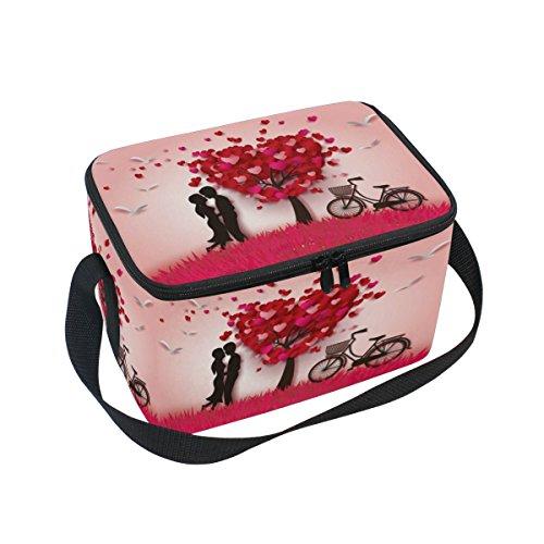 DOSHINE de Saint-Valentin Amour Arbre Bird Sac à Lunch Box de Vélo, Glace Isotherme Lunch Tote Sac Réutilisable pour Homme Femme Adulte Enfants Garçons Filles