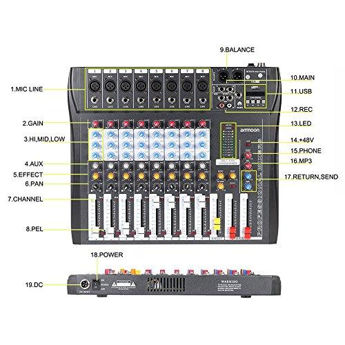 Ammoon Console De Mixage Table De Mixage 8 Canaux Ligne De Micro Numérique Mixage Audio Ct80s Usb Avec Alimentation Fantôme 48v Pour Enregistrement Dj