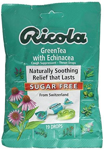 Ricola Sugar Free Herb Gola gocce, tè verde con echinacea, 19 conteggio