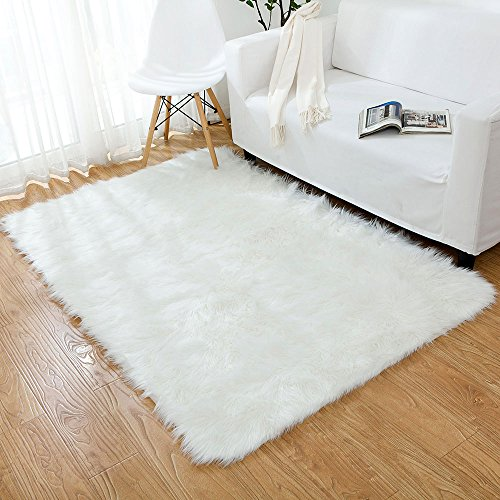 Ojia Deluxe Soft Modernes Faux Pelz Shaggy Teppiche Kinder Spiel Teppich für Living & Schlafzimmer Sofa Modern 4ft x 6ft elfenbeinweiß -