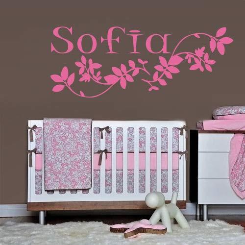 mmzki Wandtattoo Sofia Name Inschrift Wort Baby Mädchen Blütenblatt Kinderzimmer Dekoration 44 * 70cm