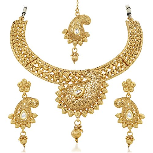 Apara Gold Plated Bridal Necklace Combo Set with Maang Tikka for Women