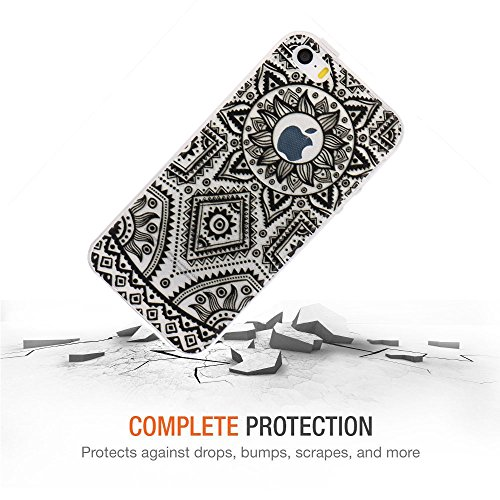JIAXIUFEN Neue Modelle TPU Silikon Schutz Handy Hülle Case Tasche Etui Bumper für Apple iPhone 5 5S SE - Blue Purple Tribal Mandala Color14