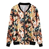 Luckycat Damen Langarmhemd Digitaldruck Kleine Floral Zipper Jacket Jacken Mäntel Sweatjacke Winterjacke Fleecejacke Steppjacke