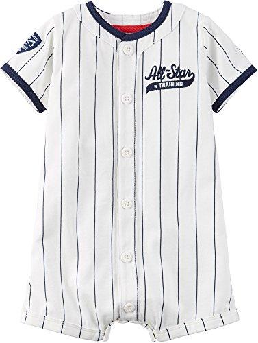 Carter's Sommer Spieler kurz für Jungen Strampler Baby boy onesie Einteiler Baseball (12 Monate, weiss) (Baby Baseball Shirt)