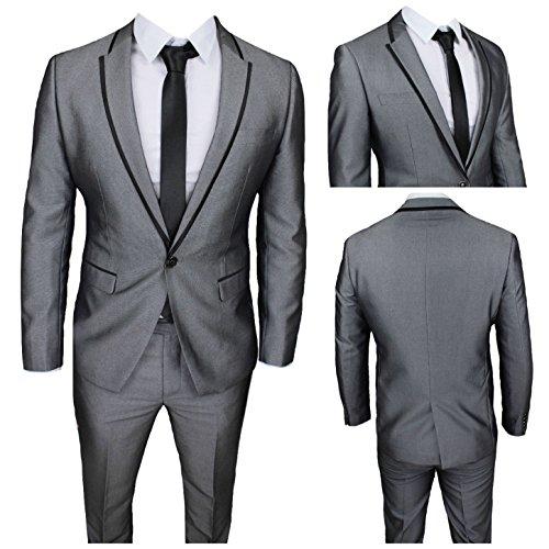 Moda classica abito uomo grigio super slim giacca e pantalone smoking vestito elegante cerimonia comunione (calza stretto 2 taglie in meno) (50)