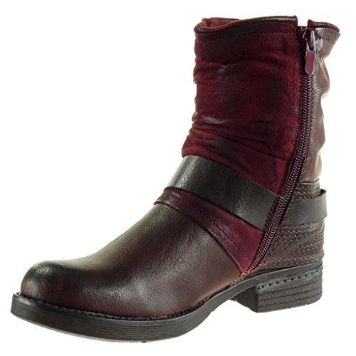Angkorly - damen Schuhe Stiefeletten - Biker - Reitstiefel - Kavalier - vintage-stil - Geflochten - String Tanga - Nieten - besetzt Blockabsatz 2.5 CM Burgunderrot