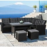 ArtLife Polyrattan Ess- & Sitzgruppe Santa Catalina für 5-7 Personen mit Esstisch & 2 Hockern in schwarz mit Bezügen in Dunkelgrau