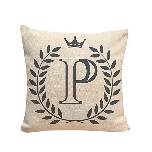 Xmiral Kissenbezug Englisches Alphabet Muster Baumwolle Leinen Pillowcase Zierkissenbezüge(P)