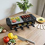 Electric Raclette Grill With 8 Self Serve Pans Hot Stone Griddle Adjustable Temperature