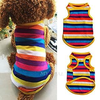 ASTrade Haustier Hunderegenbogen Weste Kleidung T Shirt Welpen Kost¨¹me nette weiche Sommer Streifen Outfit