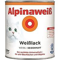 Alpina Farben GmbH–Alpine Weiß 2L, Seide matt, 2 in 1 Grundierung und Farbe, Lackfarbe, weiß 26M²