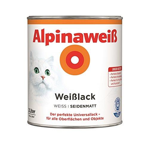 Preisvergleich Produktbild Alpina Farben GmbH–Alpine Weiß 2L, Seide matt, 2 in 1 Grundierung und Farbe, Lackfarbe, weiß 26M²