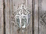 Chic Antique Deckenlampe Laterne Ampel Metall Antikweiß Shabby Vintage Franske