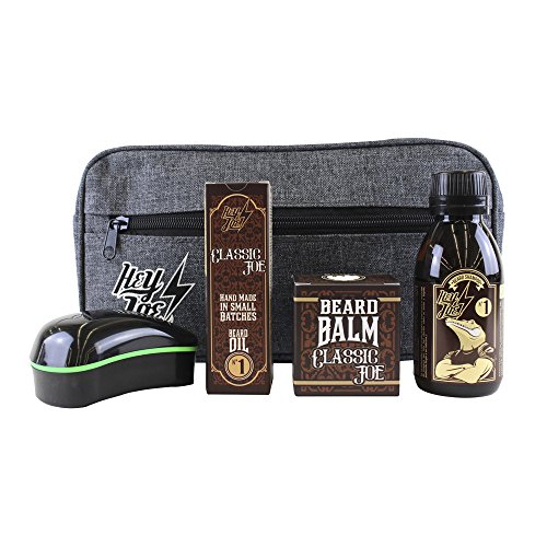 HEY JOE - Bearded Survival KIT Deluxe Nº 1 | Kit de arreglo barbas que incluye: aceite, balsamo, champú, cepillo para barba y neceser de regalo
