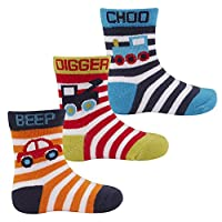 Cottonique Baby Boys Transport Characters Cotton Rich Socks 3 Pack Striped Car 0-2.5