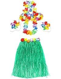 SODIAL (R) 5pcs kit hawaiana falda de hierba con flores Hula Lei guirnalda Disfraz (verde)